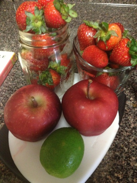 3 Red Apples 1/2 Lime Peeled 3 Cups Strawberries